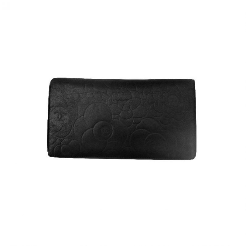 2b9efbc358a1 Replica Bags Clearance Chanel Black Camellia Long Portefeuille Using  Receipt Wallet